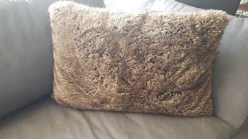 Deckenkunst Kissen Wolf braun 40x60 mit Inlet 10003